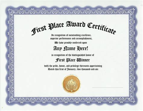 1st Place Certificate Place Winner Certificate Place Award