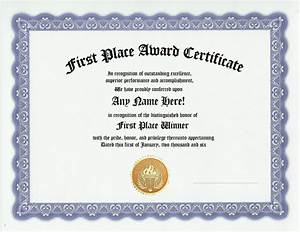 First place award recognition winner awards certificate ebay for First place award certificate