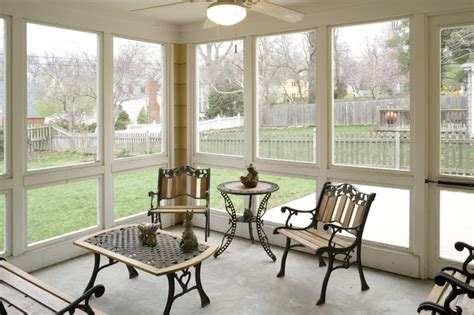 Cape Cod Addition screened porch interior - Traditional