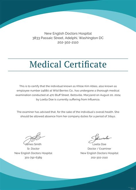 sample medical certificate  doctor template