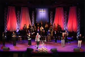 Image of: Red Waterfall Church Stage Design Idea Many Concepts Used In Church Stage Design