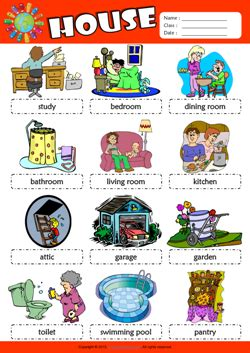 parts   house picture dictionary esl vocabulary