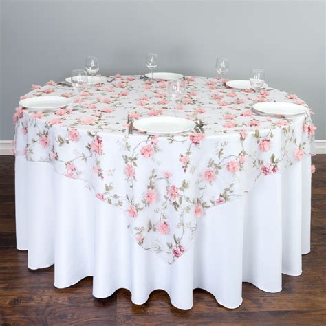 72 in. Square Sheer with Pink Roses Overlay