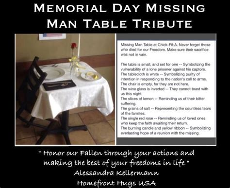 memorial day missing man table tribute  pow mia
