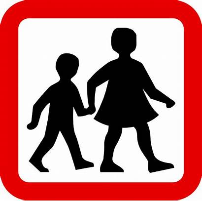 Children Walking Child Clipart Sign Road Crossing