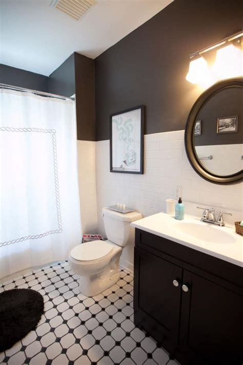 black and white bathroom ideas gallery two toned walls that work colorblocking inspiration
