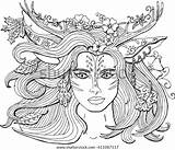 Coloring Pages Adults Vector Fantasy Deer Antlers Nature Ornament Shutterstock Spirit Mermaid Spring Forest Royalty Queen sketch template