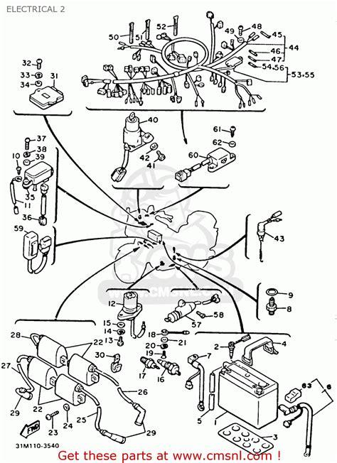 yamaha xvz12td venture royale 1983 d usa electrical 2 schematic partsfiche