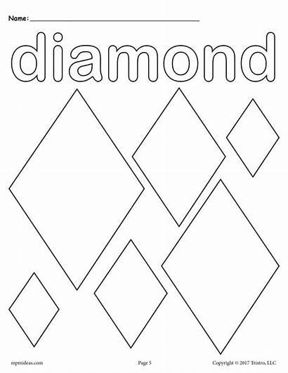 Diamond Coloring Diamonds Shape Shapes Printable Pages