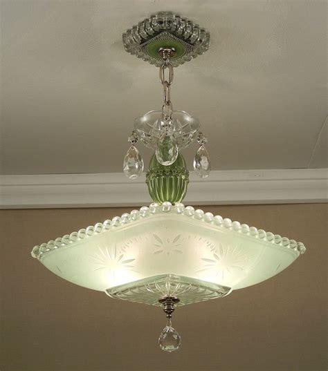 vintage american deco green starburst candlewick glass