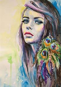 Peacock Girl watercolor painting print, Fashion ...