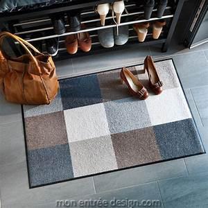 tapis d39entre beige gris achat vente de tapis With tapis entrée design