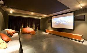 Wonderful Home Theater Design With Interesting Cushions On