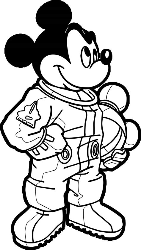 Astronaut Mickey Mouse Coloring Page Astronaut Coloring