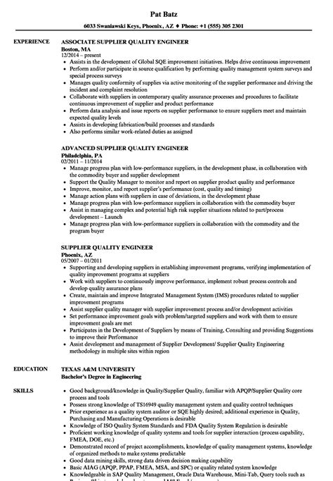Quality Engineer Resume by Supplier Quality Engineer Resume Sles Velvet