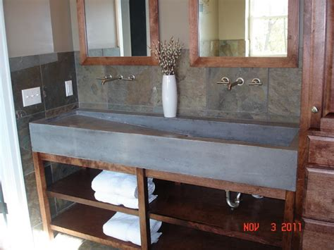 custom concrete trough sink contemporary bathroom