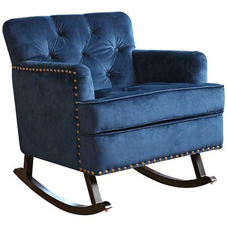 clara navy blue velvet tufted rocker chair 9g846 www
