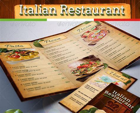 speisekarte fuer ein italienisches restaurant