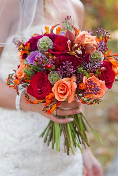 Fallautumn Wedding Bouquet Red Roses Orange Roses