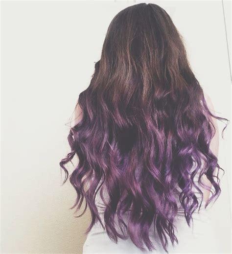 Brunette To Purple Ombre Dip Dye Hair Dip Dye Hair Dyed