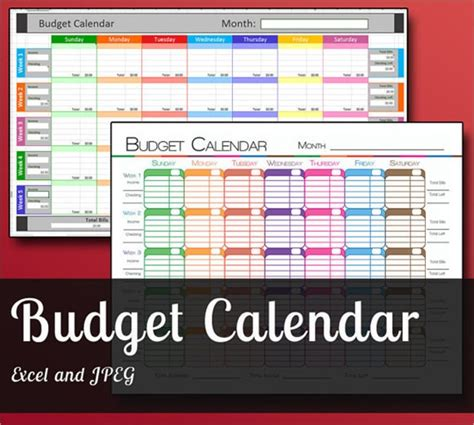 budget calendar templates  samples examples