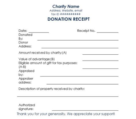 donation receipt template sles templates assistant