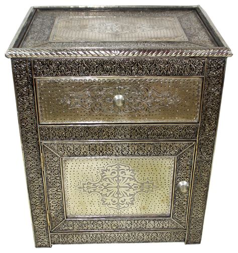 carved silver metal cabinet imported from morocco mediterranean nightstands and bedside