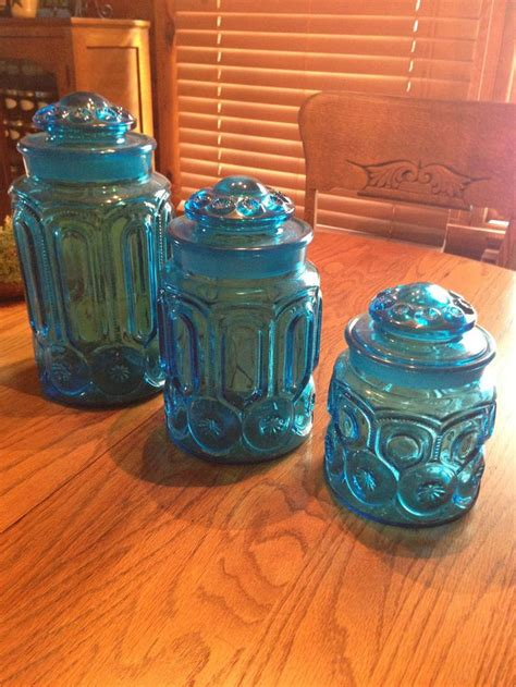 glass kitchen canister set set of 3 vintage l e smith colonial blue moon glass