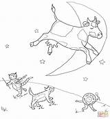 Diddle Hey Coloring Pages Printable Goose Mother Nursery Rhymes Moon Cow Fiddle Cat Rhyme Jumped Moo Crafts Clack Supercoloring Jumping sketch template