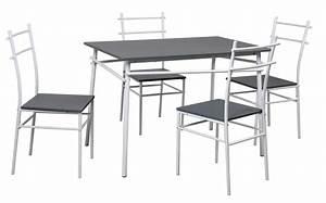 Table Cuisine Grise : table de cuisine grise et 4 chaises mulko ~ Teatrodelosmanantiales.com Idées de Décoration