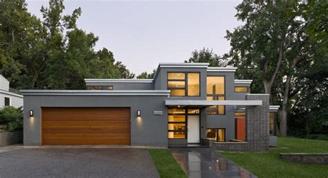 modern flat roof design love  grey rendered walls