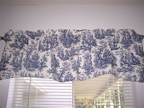 White And Blue Window Valances details about navy delft blue white waverly rustic toile