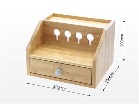 wooden charging station gadgets cable organiser bamboo furniture office supplies