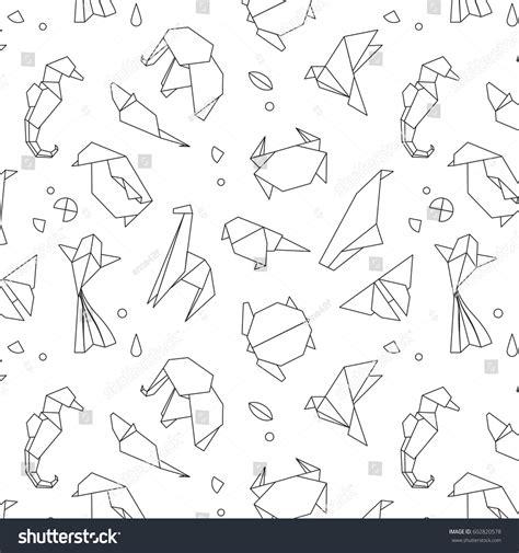 animals origami pattern snake elephant bird stock vector