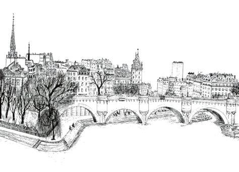 dibujo  colorear relajante paris puente nuevo