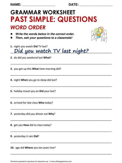 grammar past simple questions word order www