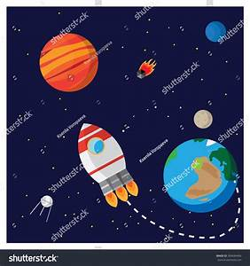 Illustration Space Shows Rocket Planets Mars Stock Vector ...