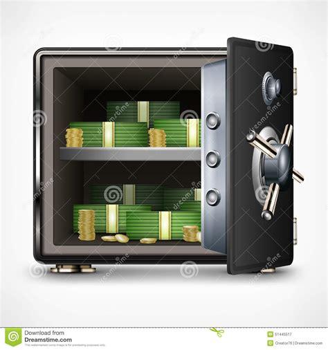 coffre fort ouvert de banque avec l argent illustration de vecteur image 51445517