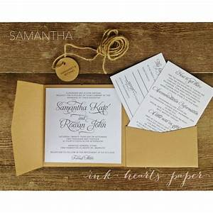 Rustic vintage backyard calligraphy script pocket fold for Pocket wedding invitations melbourne