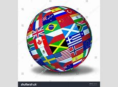 World Flags Sphere Symbol Representing International Stock