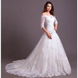 robe de mariee mariage longue traine col bateau epaules With robe de mariée avec longue traine pas cher
