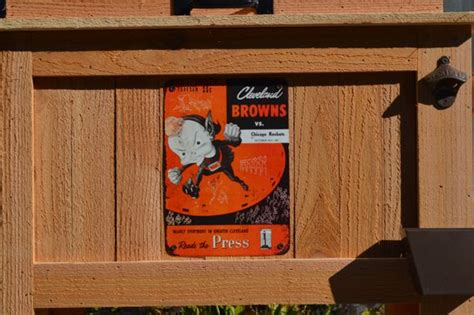 vintage cleveland browns rustic ice chest cooler stand