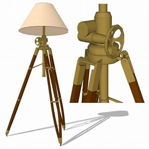 Royal marine tripod floor lamp 3d model formfonts 3d for Surveyors floor lamp wood