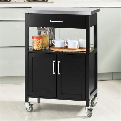 kitchen trolley cabinet sobuy 174 kitchen trolley kitchen cabinet with stainless 3392