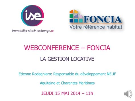 foncia si鑒e social webconference foncia ise gestion locative