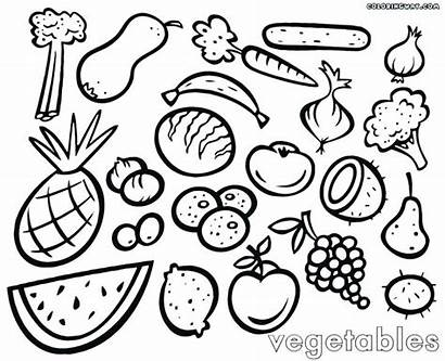 Coloring Vegetables Fruits Pages Picnic Printable Fruit