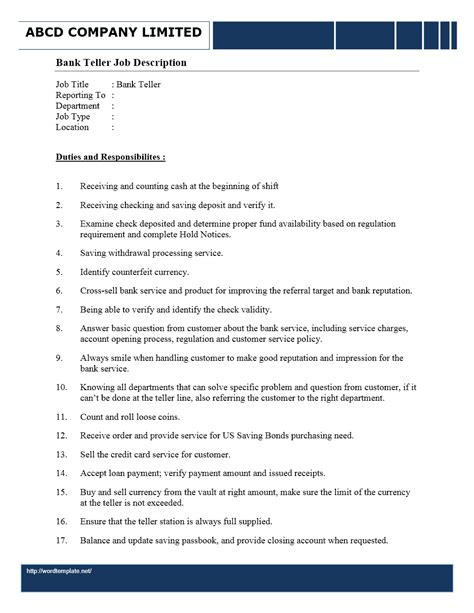 Bank Teller Duties Resume by Bank Teller Description