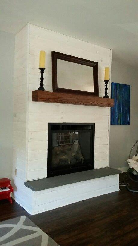 fireplace makeover diy whitewash panelshiplap bluestone
