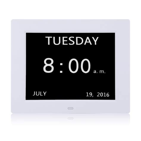 digital calendar day clock large clear time day date display