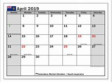Calendar April 2019, South Australia Michel Zbinden EN